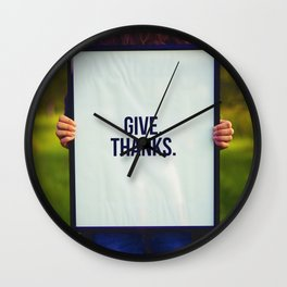 Give Thanks Sign (Color) Wall Clock