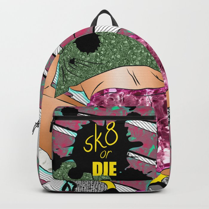 sK8 or Die - Cheeky Roller Derby Girl Digital Illustration Rucksack