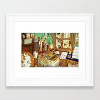 sewing Framed Art Prints featuring Sewing by Qingthings