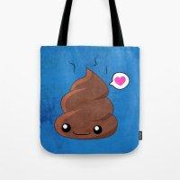 poop Tote Bags featuring Poop Love by Whitney Lynn Art