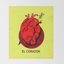 El Corazon Mexican Loteria Pop Art Throw Blanket