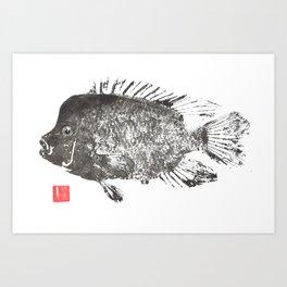 Rio Grande Cichlid bw Art Print