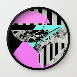 Abstract Geometric Semi Circles In Block Pink, Balck And White And Stripes Wall Clock