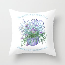 Lavender, honey bees and chives watercolor Throw Pillow