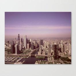 Aerial view of Chicago, Illinois. The black skyscraper is Willis Tower, a Chicago landmark,  Highsmi Canvas Print