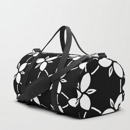 Minimalist Black and White Flower Pattern Duffle Bag
