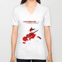 writer V-neck T-shirts featuring Psychopath or mystery writer? by yokana