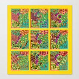 Tiles 1-9 - Yellow Canvas Print