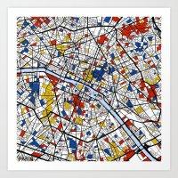 paris Art Prints featuring Paris by Mondrian Maps