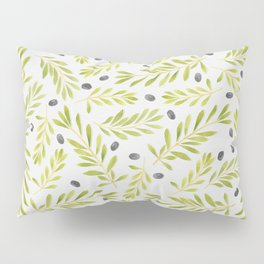 Watercolor Olive Branches Pattern Pillow Sham