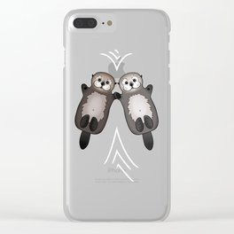 Otters Holding Hands - Otter Couple Clear iPhone Case