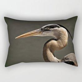 Great Blue Heron Close Up Portrait Rectangular Pillow