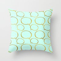 gold foil Throw Pillows featuring Mint Gold Foil 01 by Aloke Design