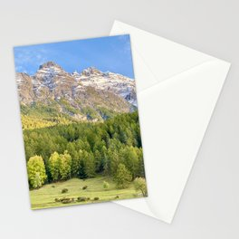 Mountain in fall with first snow Stationery Cards