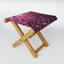 Beautiful Dark Pink glitter sparkles Folding Stool