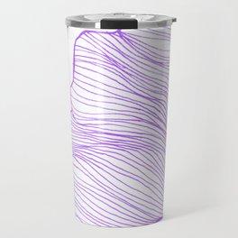 Sea waves line illustration Purple Modern Minimalist drawing. Travel Mug