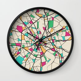 Colorful City Maps: Cologne, Germany Wall Clock