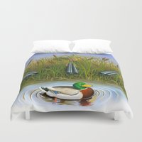 clueless Duvet Covers featuring Sitting Duck by Jay Montgomery