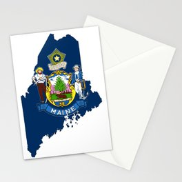 Maine Map with Flag of Maine Stationery Cards