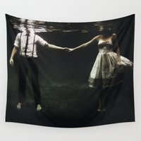 woman Wall Tapestries featuring abyss of the disheartened : IX by Heather Landis