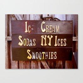 Ice Cream, Sodas, NY Ices, & Smoothies Canvas Print