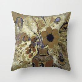 Etruscan Vase with Flowers - Odilon Redon Throw Pillow