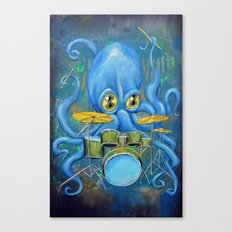 Octopus on Drums Canvas Print
