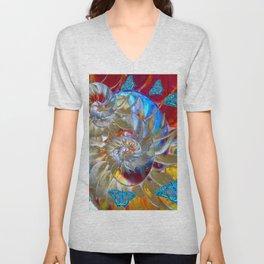 SURREAL MODERN ART BLUE BUTTERFLIES ABSTRACT Unisex V-Neck