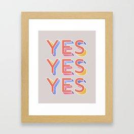 YES - typography Framed Art Print