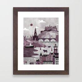 Edinburgh Travel Poster Illustration Framed Art Print