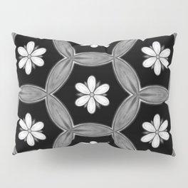 black and white hippie flower pattern Pillow Sham