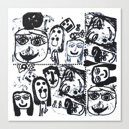 Funny Face | Pop Art | Black and White Canvas Print