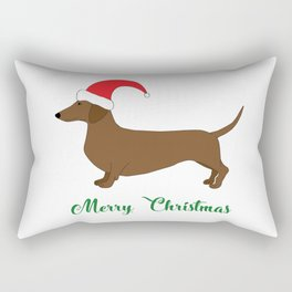 Merry Christmas Dachshund Rectangular Pillow