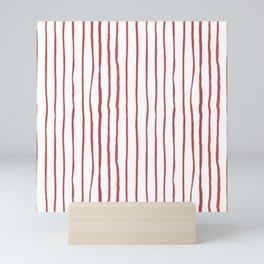 Hand painted modern abstract red geometrical stripes Mini Art Print