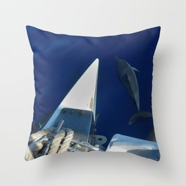 Dolphins swimming with catamaran Throw Pillow