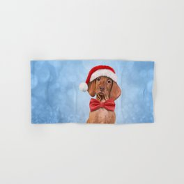 Drawing funny Vizsla pointer in red hat of Santa Claus Hand & Bath Towel