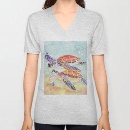 Swimming Together - Sea Turtle Unisex V-Neck