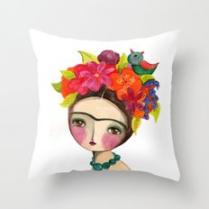 Frida And The Bird In Her Hair Throw Pillow