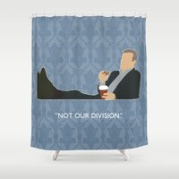 greg guillemin Shower Curtains featuring The Reichenbach Fall - Greg Lestrade by MacGuffin Designs