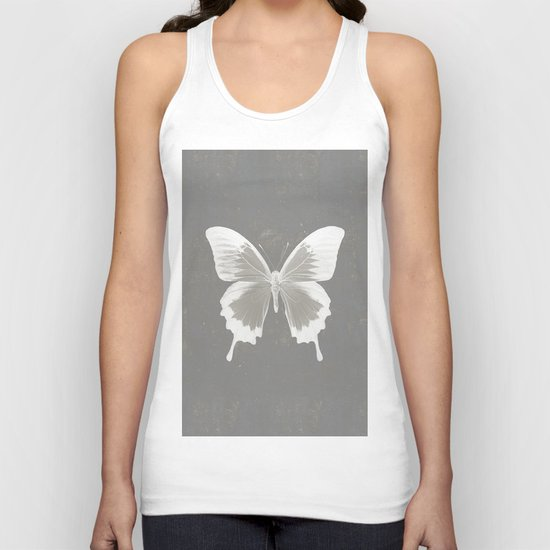 Butterfly on grunge surface Unisex Tank Top