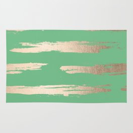 Abstract Paint Stripes Gold Tropical Green Rug