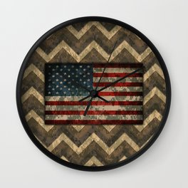 Brown Military Digital Camo Pattern with American Flag Wall Clock