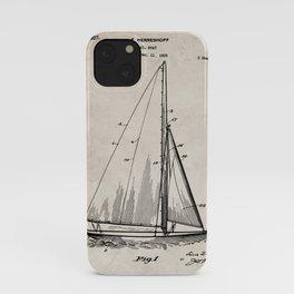 Sailboat Patent - Yacht Art - Antique iPhone Case