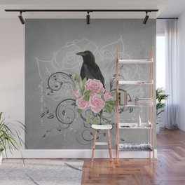 Wonderful crow with flowers Wall Mural