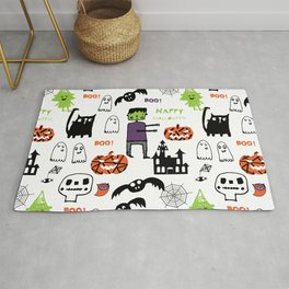 Cute Frankenstein and friends white #halloween Rug