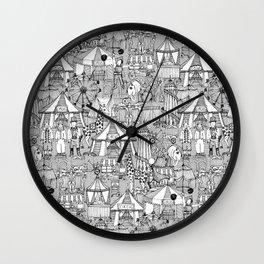 retro circus black white Wall Clock
