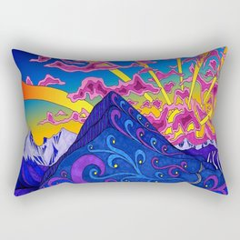 psychedelic colorful line nature mountain trees snowy peak moon sun rays hill road artwork stars sky Rectangular Pillow