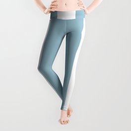 Large Baby Blue and White Vertical Cabana Tent Stripes Leggings