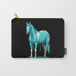 Cyan Blue Funny Wet Paint Horse Carry-All Pouch