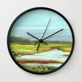 Wild Roses on a Field Wall Clock